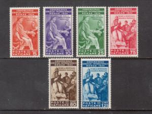Vatican City #41 - #46 Very Fine Never Hinged Scarce Set **With Certificate**