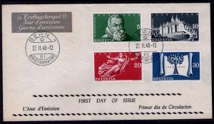 Switzerland 312-315 U/A FDC