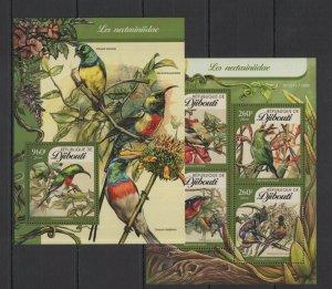 DJ116 2016 Djibouti Faune Oiseaux Les Nectariniidae KB + Bl MNH