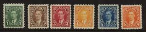 Canada - 1937 KGVI Mufti Issue Complete mint #231-236