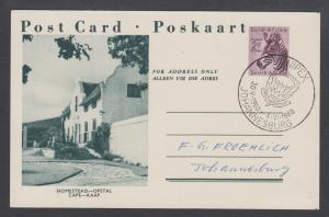 South Africa H&G 38-13 postcard 1960 UNIPEX cancel, Homestead Cape cachet