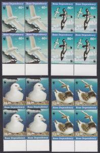 Ross Dep. WWF Antarctic Seabirds 4v Blocks of 4 with Bottom Margin 1997 MNH