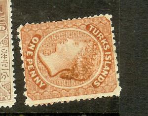 TURKS ISLANDS (P2012B) QV 1D  SG4B SIDE WMK  MOG