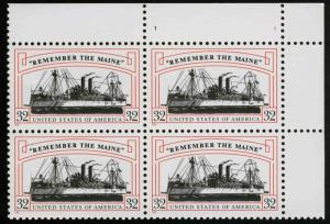 3192 Remember The Maine Plate Block Mint/nh (Free Shipping)