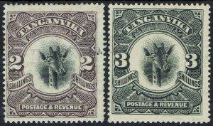 TANGANYIKA 1922 GIRAFFE 2/- AND 3/- WMK SIDEWAYS
