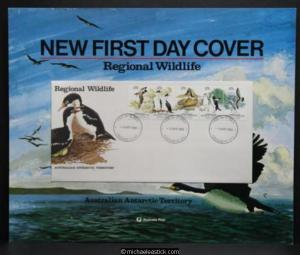 Australia Post display sheet - Antarctic Regional Wildlife FDC 6th April 1983.