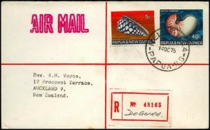 PAPUA NEW GUINEA 1974 Registered cover to NZ - RELIEF No.4 used at Dogura..91365