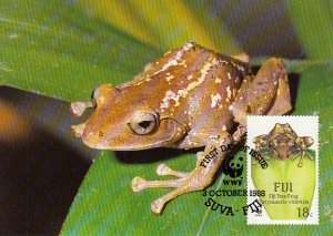 Fiji 1988 Maxicard Sc #591 18c Fiji Tree frog WWF