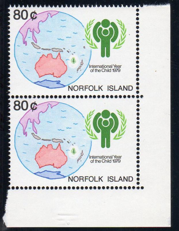 Norfolk 1979 SG#229 Year of the Child 80c Showing missing island of Fiji ERROR !