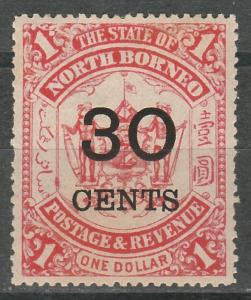 NORTH BORNEO 1895 ARMS 30C /$1