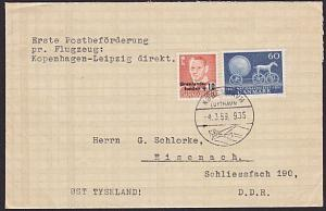 DENMARK 1959 first flight cover Copenhagen to Leipzig.......................7375