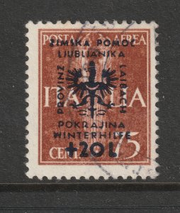 German Occ, of Slovenia a used 75c + 20L from the 1944 Orphans fund