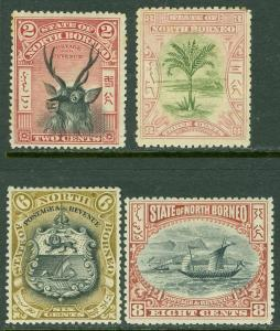 NORTH BORNEO : 1897-1902. Stanley Gibbons #94a, 96, 101a, 102b. VF MOGH Cat £200