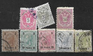 COLLECTION LOT OF 8 AUSTRIA 1883+ OFFICES IN TURKEY STAMPS CV + $65