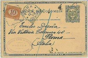 37447 - COLOMBIA - Intero Postale: BOGOTA a ROMA Tassato in ARRIVO Segnatasse