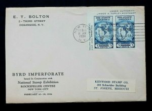 US STAMP 735a Pair BYRD FDC NEW YORK, NY PLANTY P13 1st NATIONAL EXPO STAMP EX
