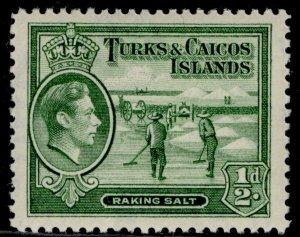 TURKS & CAICOS ISLANDS GVI SG195, ½d yellowish green, NH MINT.