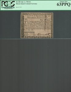 Rhode Island Colonial Curency RI 285