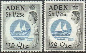 ADEN 1956-62 1s.25 Badge of Colony (both shades) MH/MNH