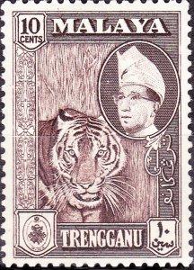 MALAYA TRENGGANU 1957 10c Deep Brown SG94 MH
