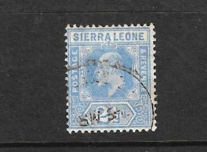 SIERRA LEONE 1907  2 1/2d BLUE KEVII FU  SG103