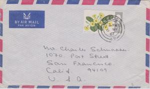 Great Britain 1/9 Primrose 1967 Leeds, 47 Airmail to San Francisco, Calif. Bi...