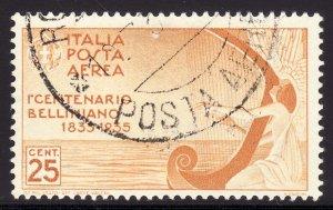 1935 Italy Vincenzo Bellini operatic composer 25¢ A/M Used Sc# C79 CV $13.00