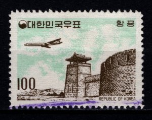 South Korea 1961 Air Mail, 100h Aircraft over West Gate, Suwon [Used]