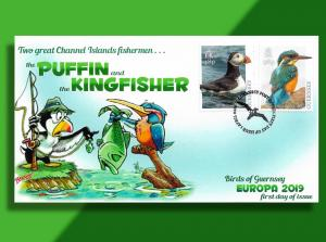 Guernsey 2019 Europa FDC -- Fishing Competition Between a Puffin & a Kingfisher!
