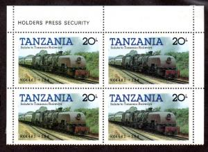 TANZANIA 273 MH BLOCK/4 SCV $1.40 BIN $0.70 TRAINS