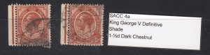 J28426, 2 1913-24 south africa used #4b specialize dark chestnut king