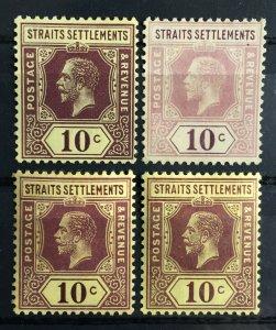 Malaya 1912 Straits Settlements KGV 10c shades/varieties Mint MCCA SG#202 M2398