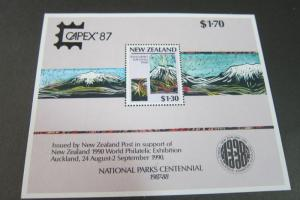 New Zealand S/S 1987 Sc 879b National Parks Capex 87 O/Prt