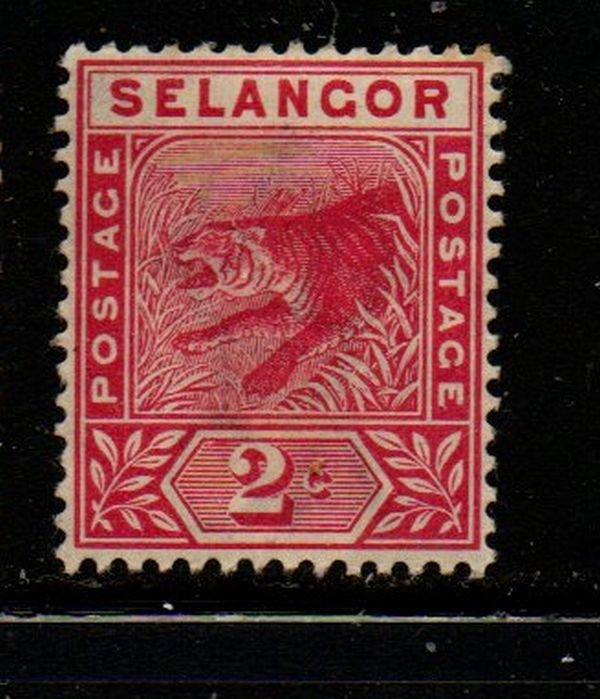 Malaya Selangor Sc 25 1891 2 c rose Tiger stamp mint