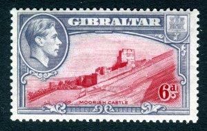 Gibraltar 1938 KGVI. 6d carmine & grey violet. Mint. LH. P13.5. SG126.