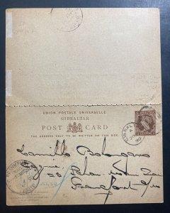 1890 Gibraltar Postal Stationery Reply Postcard  Cover To Frankfurt Germany