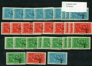 D093705 Europa CEPT 1962 Tree with 19 Leaves Wholesale 10 Series MNH Turkey