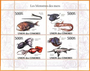 A5597 - COMOROS - ERROR, 2010 MISPERF MINIATURE SHEET: Fish, Monsters of the sea