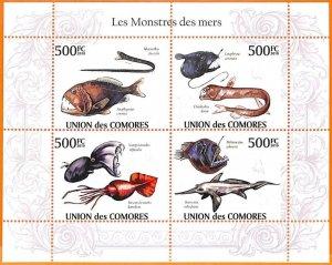 A5597 - COMOROS - ERROR, 2010 MISPERF MINIATURE SHEET: Fish, Monsters of the sea
