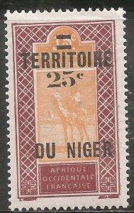 Niger Stamp - Scott #22/A1 Surcharged 25c on 15c Red Brn & Org OG Mint/LH 1925