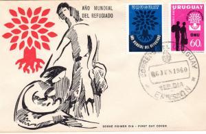 Uruguay 1960  World Refugee Year (2) Sc#657/C207  F.D.C.