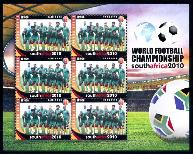 [95394] Sierra Leone 2010 World Cup Football South Africa Cameroon Sheet MNH