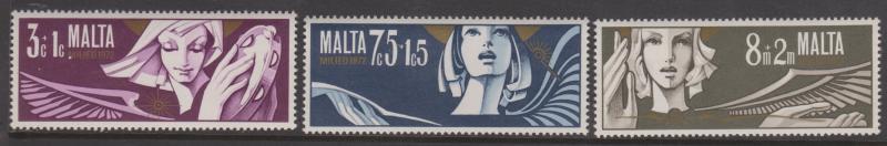 Malta 1972 Christmas Semi-postal Set Sc#B10-B12 MNH