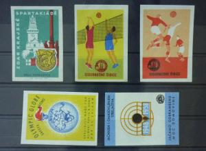 Match Box Labels ! sport olympic globe shooting volleyball football GN33