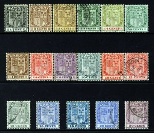 MAURITIUS KG V 1921-26 Definitive Part Set SG 205 to SG 221 VFU
