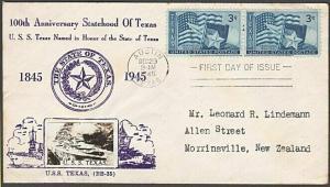 USA 1945 CROSBY photo FDC to New Zealand - 3c Texas........................55563