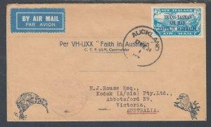New Zealand Sc C5 on 1934 VH-UXX Faith in Australia Flight Cover