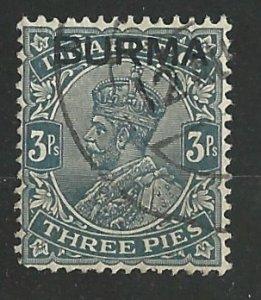 Burma # 1  King George V - 3 p    (1)  VF Used