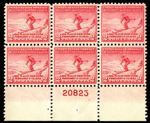 US  #716 PLATE BLOCK, XF-SUPERB mint never hinged, well centered,  FRESH PLATE!