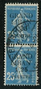 Lebanon SC# 6 France sower o/p 1.25p on 25c used pair